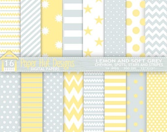 Lemon and Grey Digital Papers. Baby Shower Chevrons-Spots-Stars-Stripes. Personal or Commercial Use. Backgrounds, Invitations, Scrapbooking