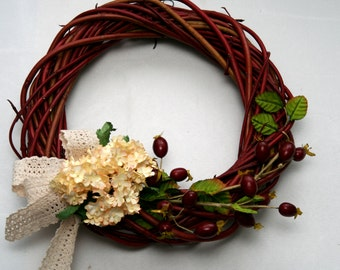 Red Willow/dogwood wreath simple handmade Rustic Decoration, Spring wreath, Eco Easter decoration, Rustic Wedding decoration