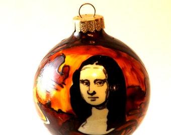 MONA LISA Hand Painted Glass Ornament