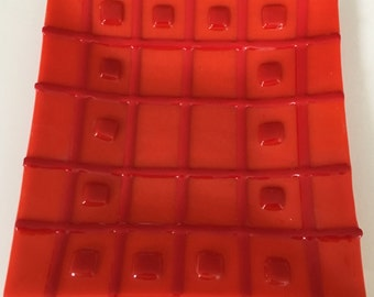 Red on Red - a fused glass plate