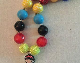 Snow White  Bubblegum Bead Necklace