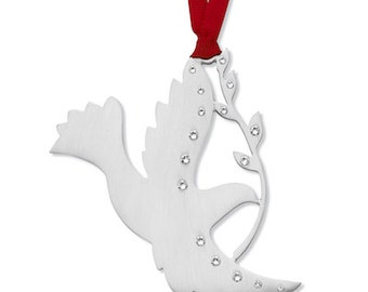 Peace Dove Ornament with Austrian Crystals + Free Engraving