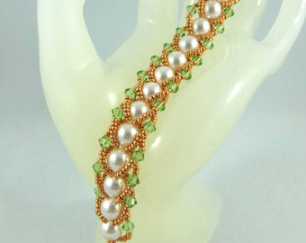 Flat Spiral 8mm Swarovski Pearl and Crystals Bracelet