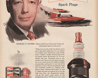 Antique 1951 Auto Parts Champion Spark Plugs Original Print Ad