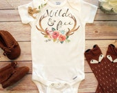 Wild and Free Baby Onesie®, Cute Baby Clothes, Baby Girl Clothes, Hippie Baby Clothes, Boho Baby Clothes, Antler Onesie, Trendy Baby Clothes