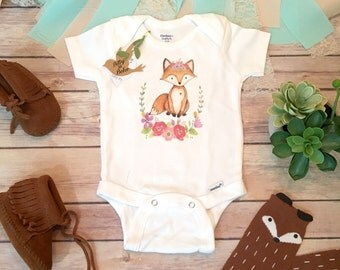 Fox Onesie®, Baby Girl Clothes, Boho Baby Clothes, Baby Shower Gift, Fox Baby Onesie, Cute Onesies, Wreath Onesie, Boho Baby Bodysuit