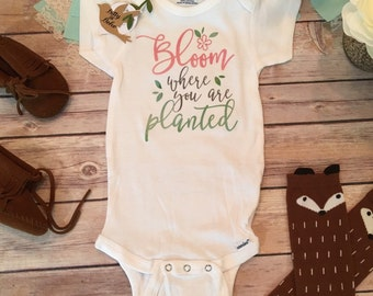 Bloom Where You Are Planted Onesie®, Baby Shower Gift, Baby Girl Clothes, Cute Baby Clothes, Cute Onesies,Take Home Outfit, Flowers, Floral