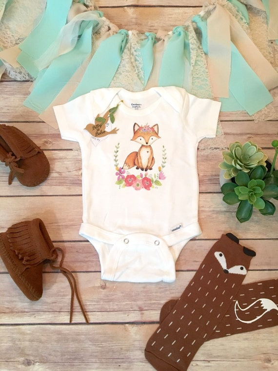 Fox esie Baby Girl Clothes Boho Baby Clothes Baby Shower