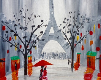 A Stroll by the Eiffel Tower in Paris, France - Acrylic Painting
