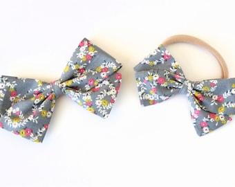 Gray Floral Bow, toddler, baby girl, fabric bow, nylon headband or clip