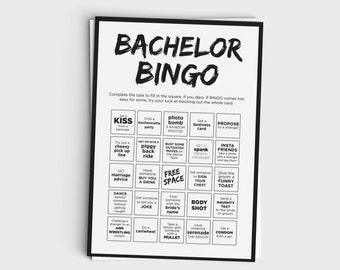 Fun Bachelor Party Bingo Scavenger Hunt Game - Instant Download - 5x7 Printable - Black & White Design