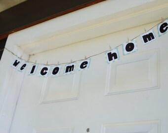 welcome home banner etsy. Black Bedroom Furniture Sets. Home Design Ideas