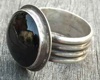 Men's Heavy Sterling Silver Ring with Black Onyx Masculine Jewlery Wide Band