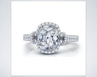 Platinum 2.00 Carat Old European Cut Diamond  Engagement Ring