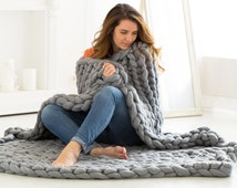 Wool blanket ready to ship. Chunky Blanket. Wool throw, Knitted blanket.Chunky knit throw. Wool Blanket. Bulky Blanket. Extreme Knitting.