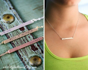 Silver Bar Necklace Rose Gold Bar Necklace • Custom Name Bar Skinny Rose Gold Thin Gold Bar • Charm Discount Sale
