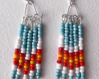 Southwestern style beaded earrings light blue