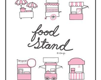 Food stands/ Food carts digital clip art