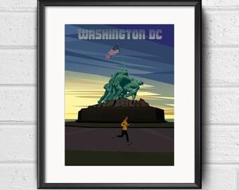 Marine Corps War Memorial - Postcards from Washington DC - Marine Corps Marathon, running DC, Iwo Jima, present for runner, run DC, run gift