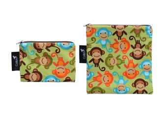 Ready to ship - Reusable Snack Bag Set - Monkeys with zippers