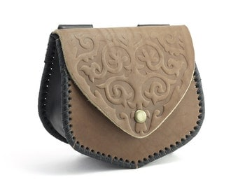 Brown leather waist bag with embossed folk ornament of the nineteenth century, Hip bag made of 100% genuine Leather