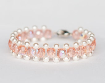 Salmon colored Charming Bracelet with Intense Sheen