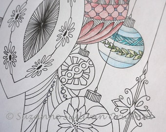 Christmas Ornament Coloring Page 2, Adult Coloring Page, 1 PDF file, Coloring, Stress Relief Coloring, Coloring Book Page, Child and Adult