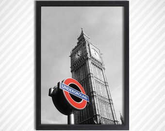 London Big Ben, Underground, Tube, reb blue, Abstract, iconic, Poster, home decor, wall art, Canvas