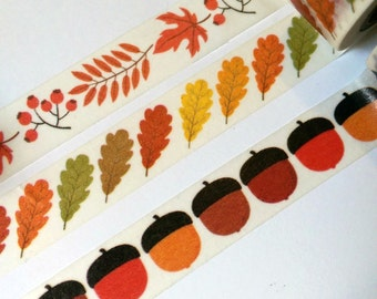Autumn/Fall Leaves & Acorn Washi Tape Sample