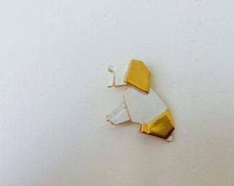 Origami Dog Pin Brooch by Trifari/Trifari Costume Jewelry/Origami/Origami Jewelry/Dog