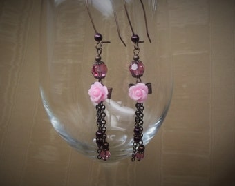 Rose Crystal Bow Earrings