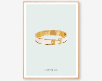 Hermes | Hermes bracelet | Hermes print | Fashion Illustration | Digital print | Wall Art | Printable art | Instant download | Fashion art |