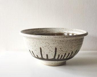 Vintage Handmade Glazed Stoneware Mixing Bowl