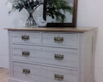 Antique Edwardian Grey Painted Shabby Country Chic Chest Of Drawers