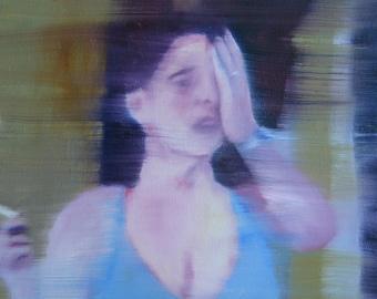 Woman with Hand,Modern Art, Contemporary Art,Wall Decor,Wall Canvas,Home Decor,Original Art