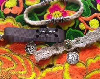 Crochet, turquoise and swarovski bracelet