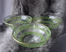 50s Frosted Green Glass Sweet Dishes, Kitchen and Dining, Serving Dishes, Gold Trim Rims, Fine Table Ware, Super Table Decor, Vintage.