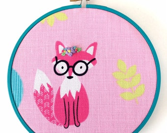 Woodland Nursery Art, Embroidery Hoop Art, Fox Wall Art, Hand Embroidered Wall Decor, Nursery Fox Decor, Baby Shower Gift, Nursery Art