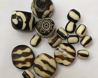 16 African Batik Bone Beads Mixed Lot Zebra Design Round, Tube, Wheel Dark Bown and White Tribal Ethnic Beads