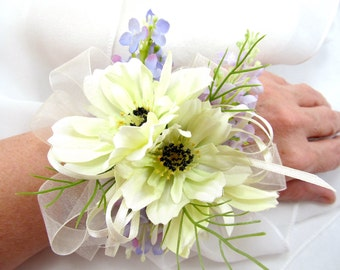 Ivory Wedding Wrist Corsage, Cream Cosmos and Soft Purple Lilacs Slap On Wristlet, Silk Lilacs and Cosmos Flowers Bridal Corsage.