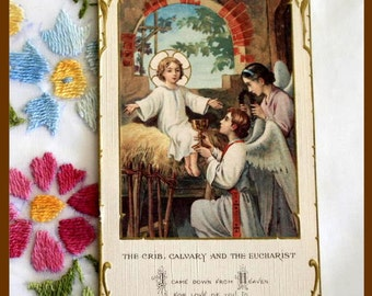 "Vintage Bouasse Jeune Holy Card ""The Crib, Calvary and Eucharist"""