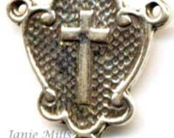 Sterling Rosary Center with cross and shield
