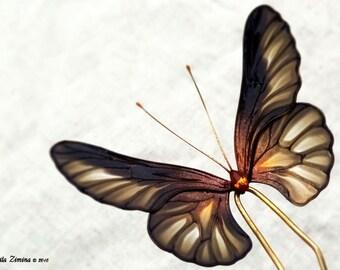 Fantasy butterfly. Hair stick. Hair pin. Rezin Kanzashi.