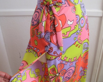 Psychedelic Print Skirt- 60s Wrap Style Maxi---Small