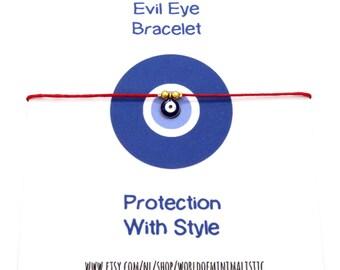 Red string evil eye bracelet - evil eye gold coin charm - protection minimalist bracelet - dainty delicate thread bracelet -friendship gift