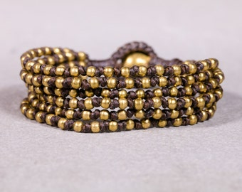 Beaded Bracelet-Brown And Gold beads bracelet- Brass Bracelet- B78
