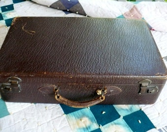 Vintage Hard-sided Suitcase, Brown Leather Exterior, Fabric Interior, Medium Size