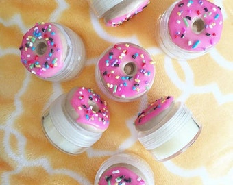 Pink Sprinkled Donut Lip Balm - Lip Gloss - Lip Chap - Lip Stain - Natural Lip Balm - Lip Care - Polymer Clay Charm