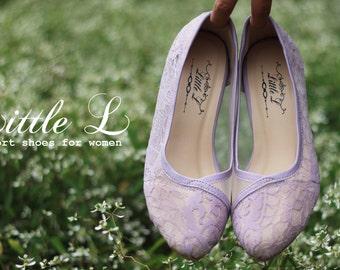 Wedding Shoes - Bridal Purple Lace Heels or Flat Custom