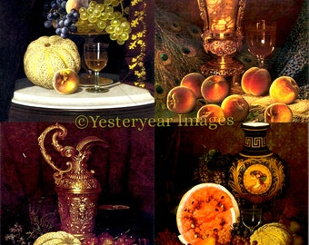 Vintage William Mason Brown STILL LIFE Art - Digital Images Collage Sheets - Instant Download - 3 PNG Files 4x4 - 2x2 - 1x1